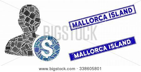 Mosaic Investor Icon And Rectangle Mallorca Island Stamps. Flat Vector Investor Mosaic Icon Of Scatt