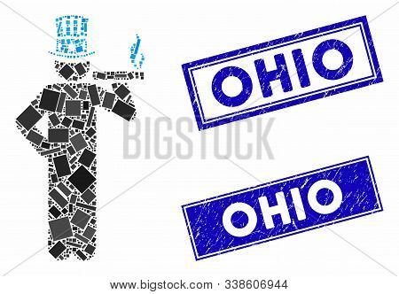 Mosaic American Capitalist Icon And Rectangle Ohio Seals. Flat Vector American Capitalist Mosaic Ico