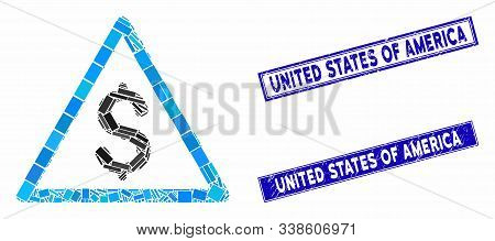 Mosaic Money Warning Icon And Rectangle United States Of America Seals. Flat Vector Money Warning Mo