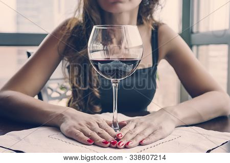 Closeup Portrait Of Young Female Customer Drinking Red Wine With Eyes Closed. Woman Drinking Wine, T