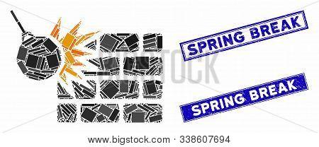 Mosaic Brick Wall Destruction Pictogram And Rectangular Spring Break Seals. Flat Vector Brick Wall D