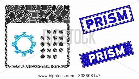 Mosaic Service Calendar Pictogram And Rectangular Prism Rubber Prints. Flat Vector Service Calendar