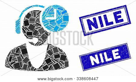 Mosaic Operator Time Pictogram And Rectangle Nile Stamps. Flat Vector Operator Time Mosaic Icon Of S