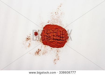 Magyar (hungarian) Brilliant Red Sweet Paprika Powder Isolated On White Background. Traditional Ingr