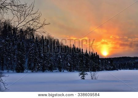 Winter Forest Landscape On The Background Of A Mystical Sunset. Quebec, Canada.
