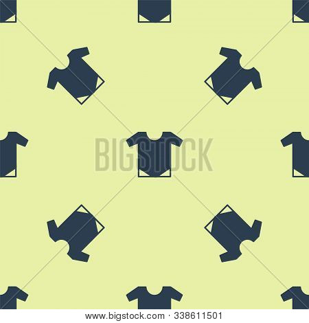 Blue Baby Onesie Icon Isolated Seamless Pattern On Yellow Background. Baby Clothes Symbol. Kid Wear