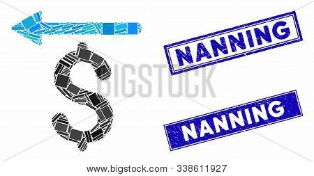 Mosaic Moneyback Pictogram And Rectangle Nanning Stamps. Flat Vector Moneyback Mosaic Pictogram Of R