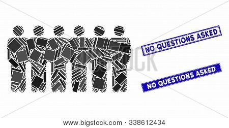 Mosaic People Demographics Pictogram And Rectangular No Questions Asked Seal Stamps. Flat Vector Peo