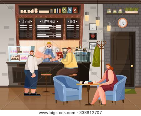 People Breaktime With Beverage In Coffeehouse. Woman Sitting At Table With Cup, Men Sitting Near Bar