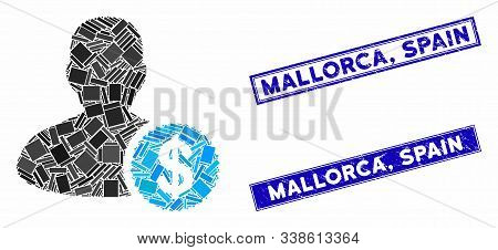 Mosaic Investor Icon And Rectangle Mallorca, Spain Stamps. Flat Vector Investor Mosaic Pictogram Of