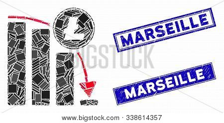 Mosaic Litecoin Falling Acceleration Chart Icon And Rectangle Marseille Watermarks. Flat Vector Lite