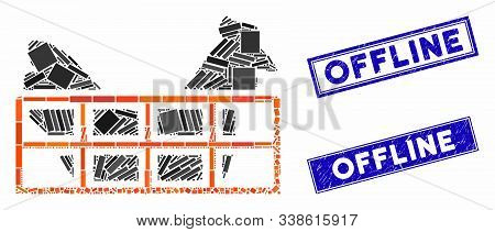 Mosaic Chicken Cage Pictogram And Rectangular Offline Watermarks. Flat Vector Chicken Cage Mosaic Ic