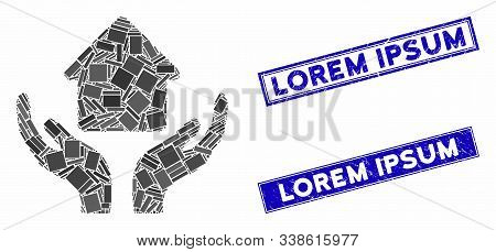 Mosaic Home Care Hands Pictogram And Rectangle Lorem Ipsum Seal Stamps. Flat Vector Home Care Hands