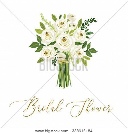 Cute Botanical Theme Floral Background With Bouquet Of Hand Drawn Rustic White Roses And Green Leave