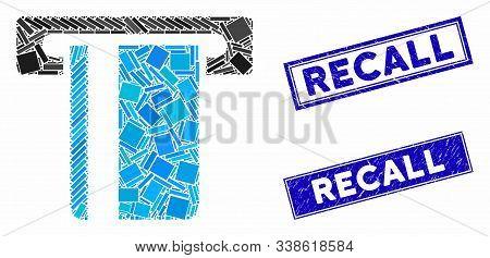Mosaic Atm Terminal Pictogram And Rectangular Recall Rubber Prints. Flat Vector Atm Terminal Mosaic