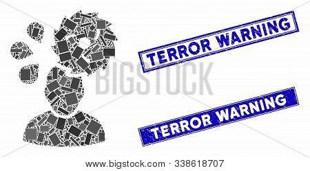 Mosaic Circular Saw Accident Icon And Rectangle Terror Warning Rubber Prints. Flat Vector Circular S