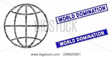 Mosaic Globe Pictogram And Rectangle World Domination Watermarks. Flat Vector Globe Mosaic Pictogram