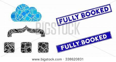 Mosaic Combine Cloud Pictogram And Rectangle Fully Booked Rubber Prints. Flat Vector Combine Cloud M