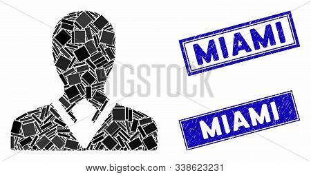 Mosaic Manager Pictogram And Rectangle Miami Seal Stamps. Flat Vector Manager Mosaic Pictogram Of Ra