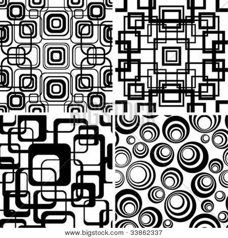 Seamless black-and-white retro patterns