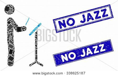 Mosaic Concert Conductor Pictogram And Rectangle No Jazz Stamps. Flat Vector Concert Conductor Mosai