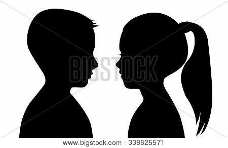 Black Silhouette Of A Boy And A Girl On A White Background. The Faces Are Facing Each Other. Vector