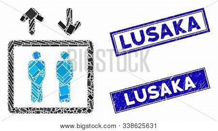 Mosaic Human Elevator Icon And Rectangular Lusaka Seal Stamps. Flat Vector Human Elevator Mosaic Ico