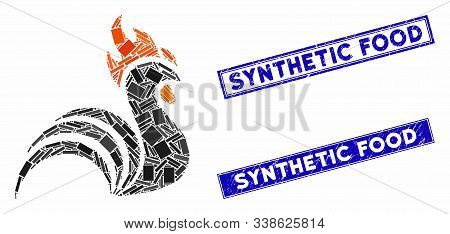 Mosaic Rooster Pictogram And Rectangular Synthetic Food Seal Stamps. Flat Vector Rooster Mosaic Pict