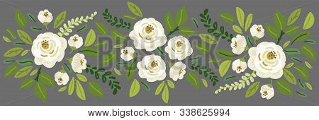 Cute Spring Collection Floral Horizontal Background With Bouquets Of Hand Drawn Rustic White Roses F