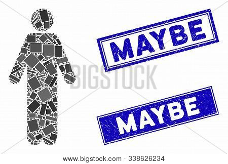 Mosaic Male Icon And Rectangular Maybe Seal Stamps. Flat Vector Male Mosaic Icon Of Randomized Rotat