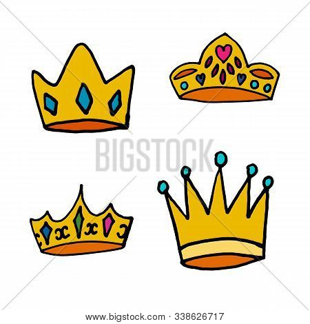 King Or Qween Golden Crown With Jewelry In Vector.