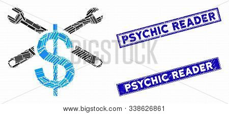 Mosaic Service Price Pictogram And Rectangle Psychic Reader Stamps. Flat Vector Service Price Mosaic
