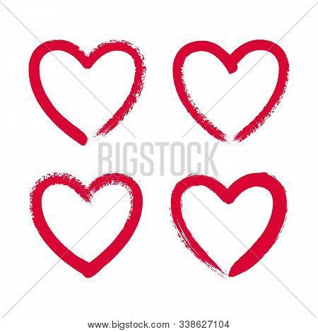 Hand Drawn Red Heart Frame. Hand Painted Ink Brush Strokes. Vector Grunge Hearts Set.