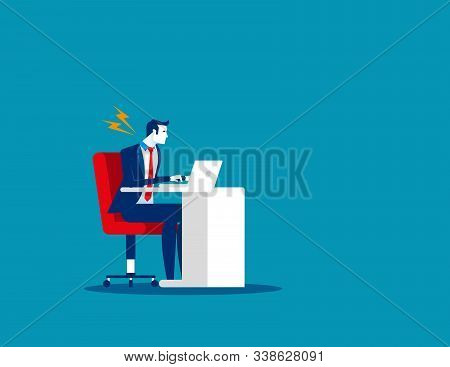 Businessman Suffer From Stiff Neck. Concept Business Vector. Problem, Health, Fatigue.