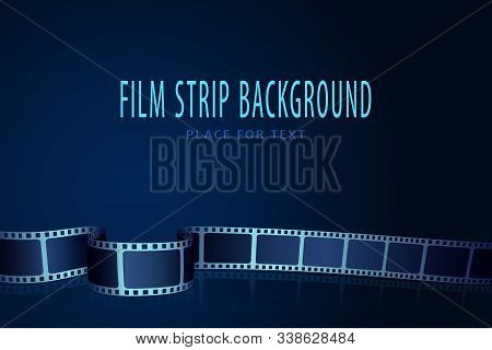 Realistic 3d Cinema Film Strip In Perspective Isolated On Blue Background. Vector Template Cinema Fe