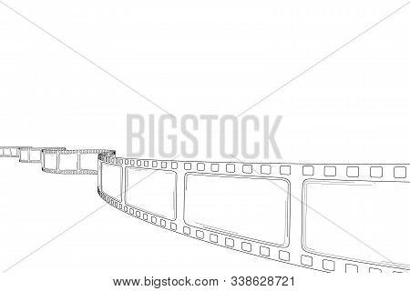 Hand Drawn Cinema Film Strip. Sketch Empty Frame Film Roll For Text, Festival, Poster, Flyer, Banner