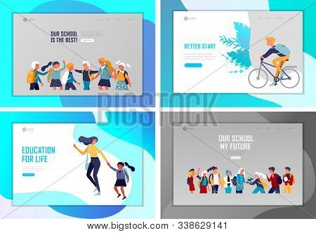 Landing Page Template With Back To School Flat Vector Illustration. Preteen And Teenage Schoolkids.