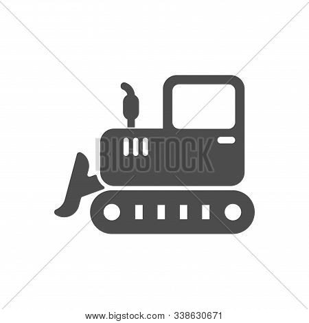 Bulldozer Vector Icon Isolated On White Background. Bulldozer Flat Icon For Web, Mobile And User Int