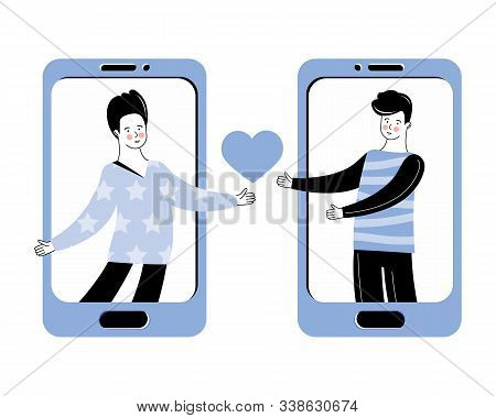 Virtual Relationships, Online Dating And Social Networking. The Concept Of Lgbt. Romantic Relationsh