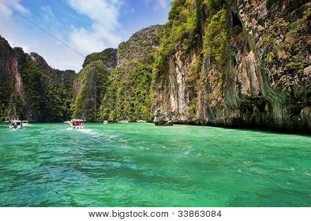 Speedboats in Koh Phi Phi Ley, Thailand.