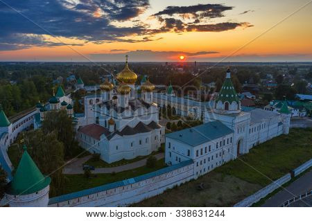 Aerial view of famous Ipatievsky (Hypatian) Monastery in ancient touristic town Kostroma at sunset, Russia.