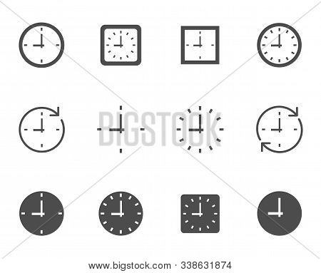 Time Clock Dial Vector Icon Set For Web And Ui Design. Time Clock Square And Round Dials Flat Icons