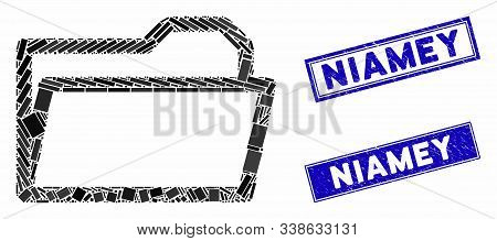 Mosaic Open Folder Icon And Rectangle Niamey Seal Stamps. Flat Vector Open Folder Mosaic Icon Of Ran