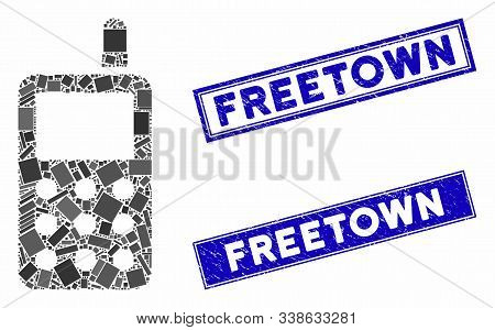 Mosaic Cell Phone Icon And Rectangular Freetown Watermarks. Flat Vector Cell Phone Mosaic Icon Of Ra