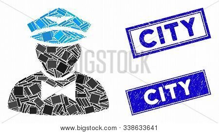 Mosaic Airline Steward Pictogram And Rectangle City Seal Stamps. Flat Vector Airline Steward Mosaic