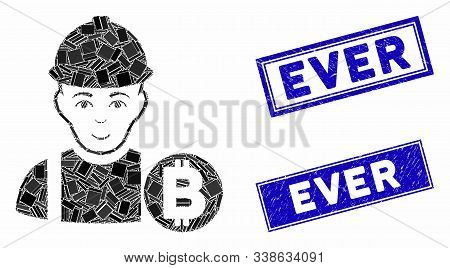 Mosaic Bitcoin Miner Pictogram And Rectangle Ever Rubber Prints. Flat Vector Bitcoin Miner Mosaic Pi
