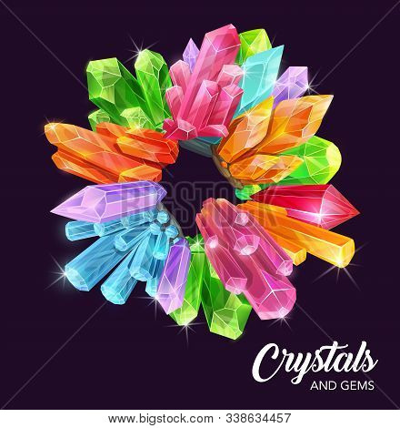 Crystals And Gem Stones Vector Wreath With Magic And Precious Gemstones, Mineral Rocks. Diamond Jewe