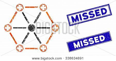 Mosaic Medical Network Pictogram And Rectangular Missed Stamps. Flat Vector Medical Network Mosaic P