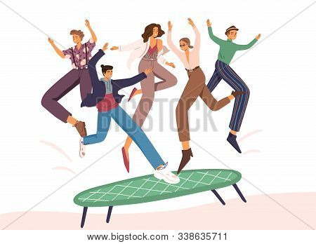 People Jumping On Trampoline Flat Vector Illustration. Positive Experience Concept. Group Of Young F