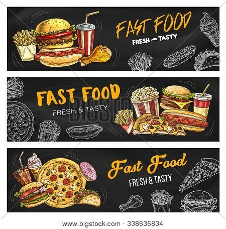Fast Food Burgers And Sandwiches Menu, Vector Sketch Banners. Fastdood Restaurant And Foodcourt Bist